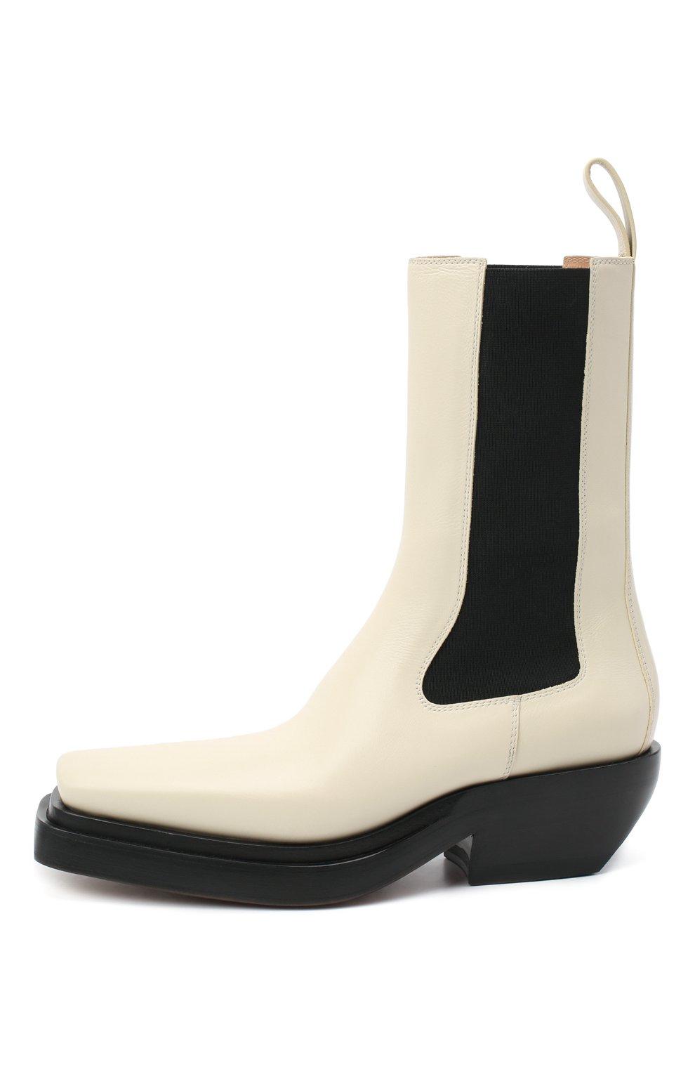 Женские кожаные ботинки bv lean  BOTTEGA VENETA кремвого цвета, арт. 639831/V00M0   Фото 4
