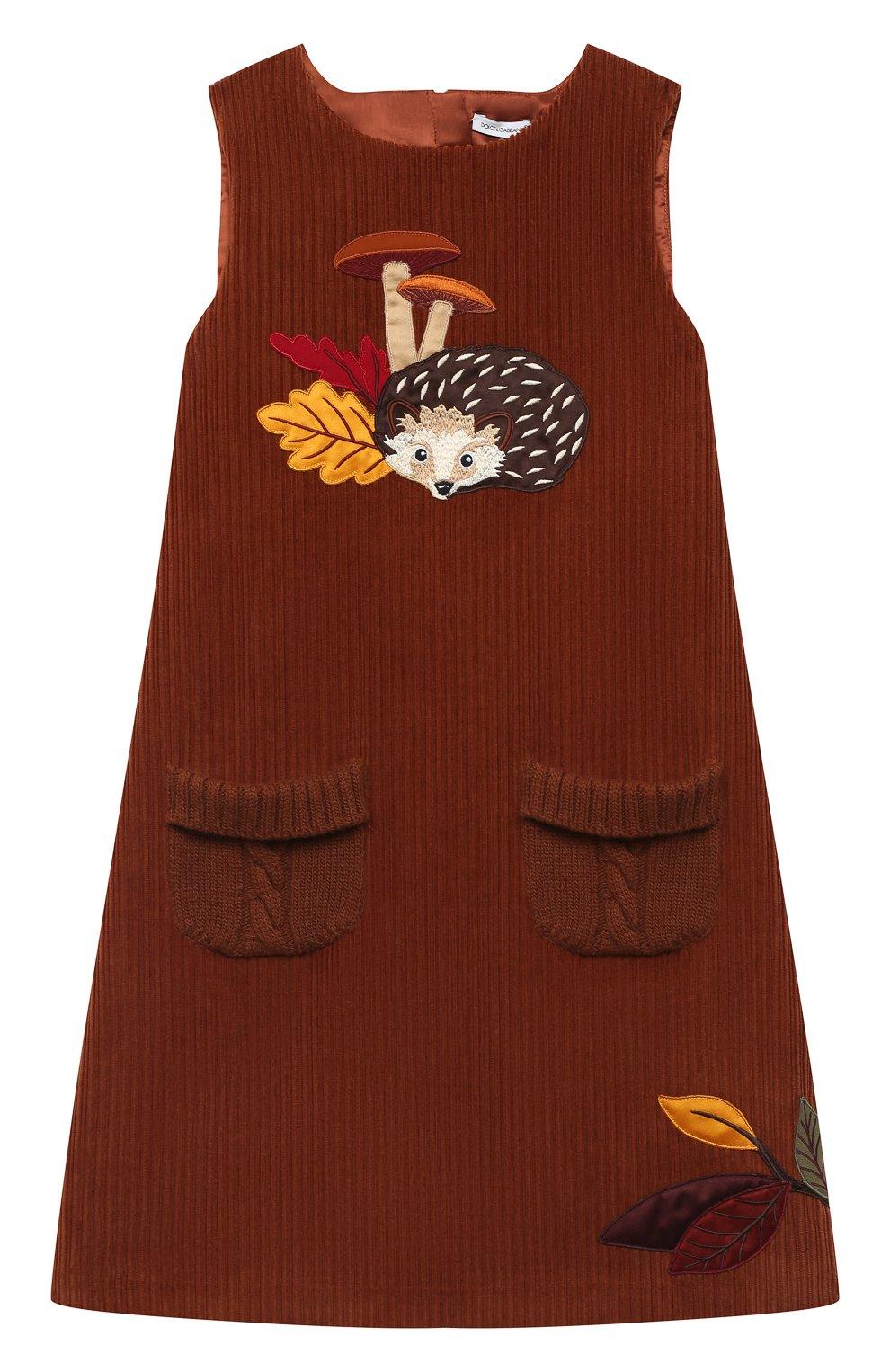 Детское хлопковое платье DOLCE & GABBANA коричневого цвета, арт. L52D04/FUWDB/8-14 | Фото 1 (Рукава: Короткие; Случай: Повседневный; Материал внешний: Хлопок; Девочки Кросс-КТ: Платье-одежда; Материал подклада: Вискоза)
