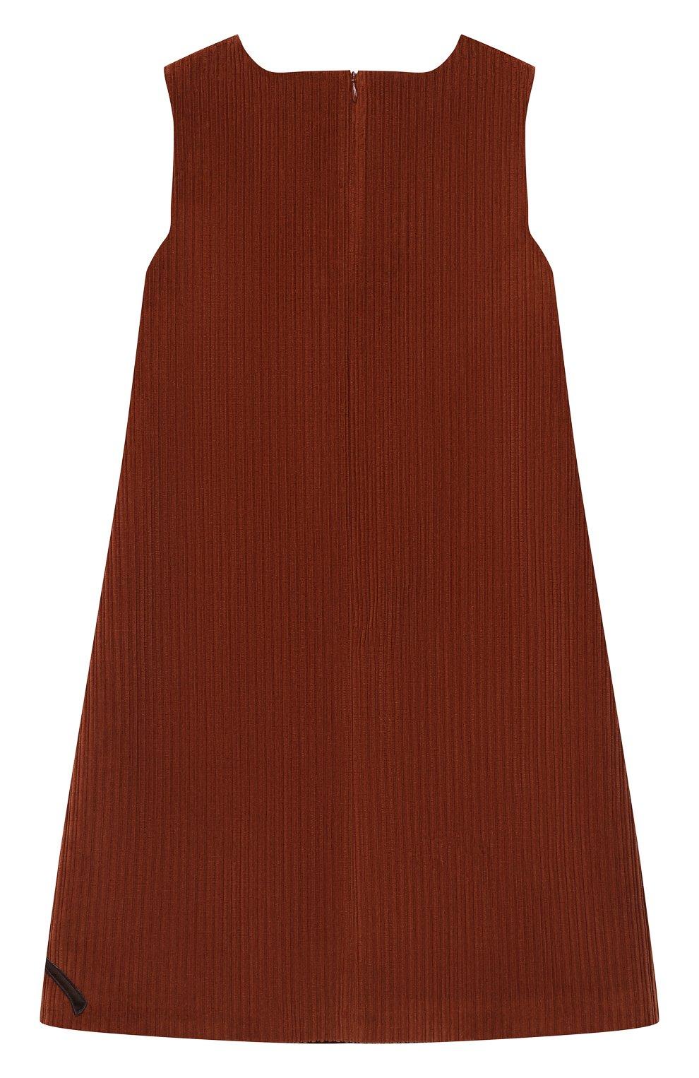 Детское хлопковое платье DOLCE & GABBANA коричневого цвета, арт. L52D04/FUWDB/8-14 | Фото 2 (Рукава: Короткие; Случай: Повседневный; Материал внешний: Хлопок; Девочки Кросс-КТ: Платье-одежда; Материал подклада: Вискоза)