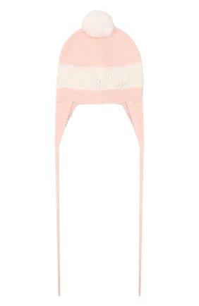 Детского шерстяная шапка BABY T розового цвета, арт. 20AI114CU | Фото 1