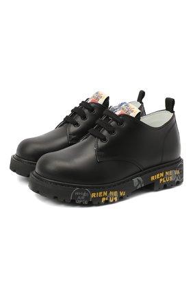 Детские кожаные туфли PREMIATA WILL BE черного цвета, арт. G0-URBAN/11-221470/CHILD | Фото 1 (Материал внутренний: Натуральная кожа)
