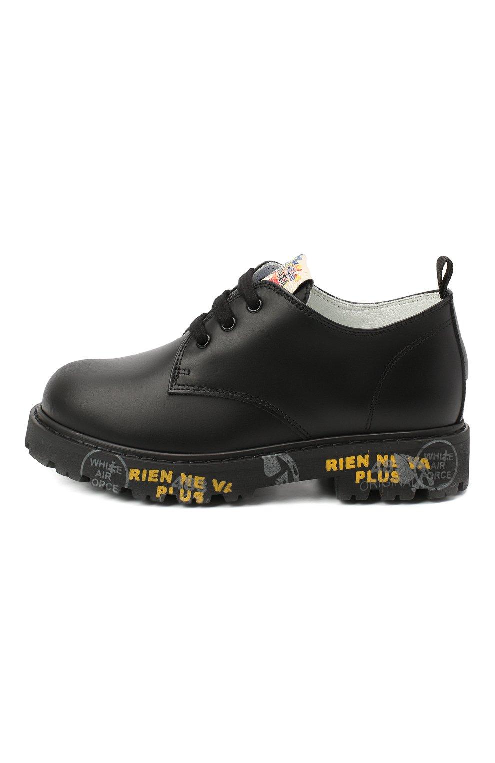 Детские кожаные туфли PREMIATA WILL BE черного цвета, арт. G0-URBAN/11-221470/CHILD | Фото 2 (Материал внутренний: Натуральная кожа)