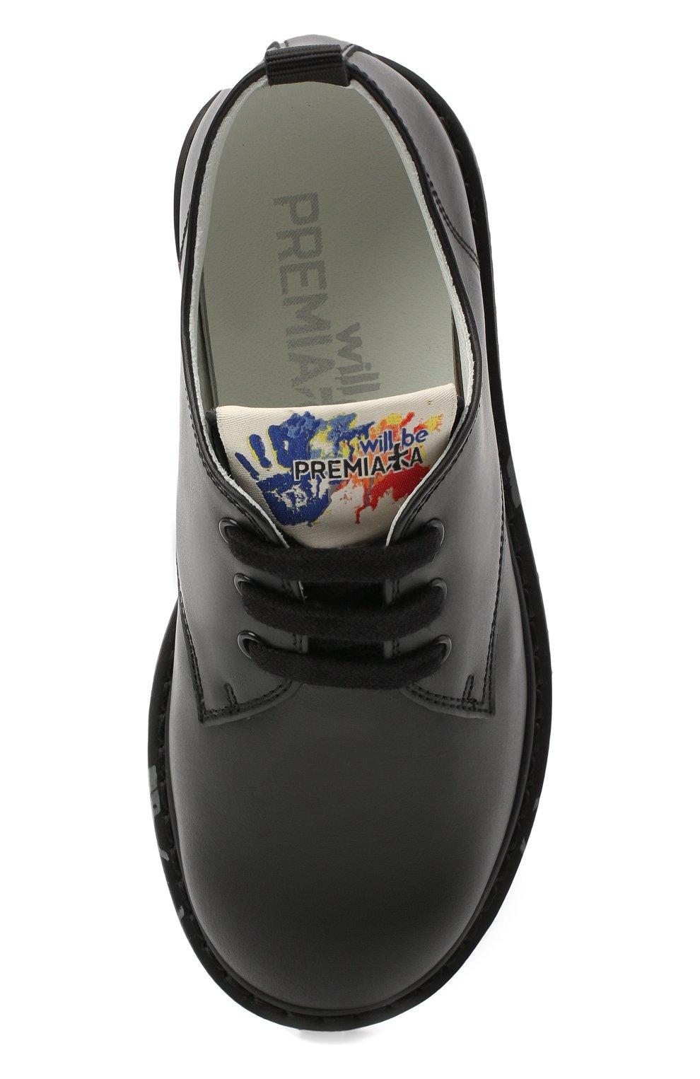 Детские кожаные туфли PREMIATA WILL BE черного цвета, арт. G0-URBAN/11-221470/CHILD | Фото 4 (Материал внутренний: Натуральная кожа)