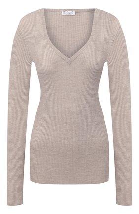 Женский пуловер BRUNELLO CUCINELLI бежевого цвета, арт. M41822902 | Фото 1