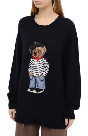 Женский кашемировый пуловер RALPH LAUREN темно-синего цвета, арт. 293829121 | Фото 3