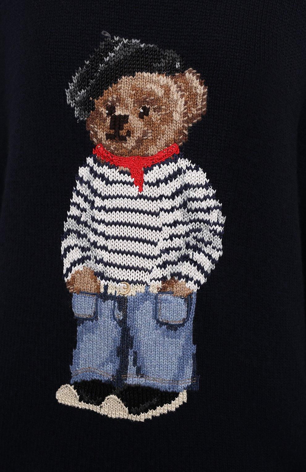 Женский кашемировый пуловер RALPH LAUREN темно-синего цвета, арт. 293829121 | Фото 5
