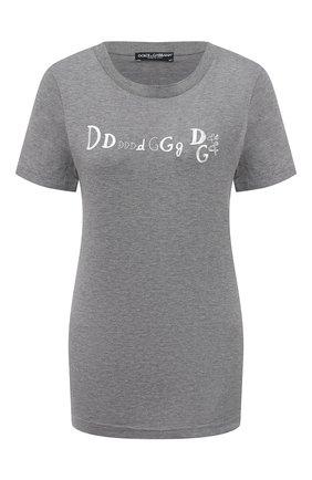 Женская хлопковая футболка DOLCE & GABBANA серого цвета, арт. F8M68Z/G7WXD | Фото 1