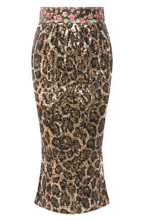 Женская юбка с пайетками DOLCE & GABBANA коричневого цвета, арт. J4016Z/FLSCN | Фото 1