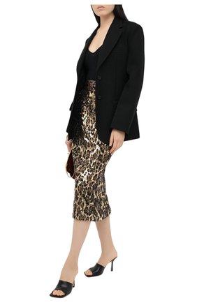 Женская юбка с пайетками DOLCE & GABBANA коричневого цвета, арт. J4016Z/FLSCN | Фото 2