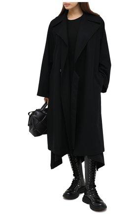 Женское шерстяное пальто Y`S черного цвета, арт. YB-C41-131   Фото 2