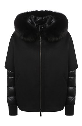 Женский комплект из шерстяной накидки и пуховой куртки MOORER черного цвета, арт. PEGAS0-CWR/A20D272CASW | Фото 1