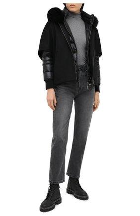 Женский комплект из шерстяной накидки и пуховой куртки MOORER черного цвета, арт. PEGAS0-CWR/A20D272CASW | Фото 2