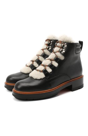 Женские кожаные ботинки SANTONI черного цвета, арт. WTWW58814SQ0ANYBN01 | Фото 1