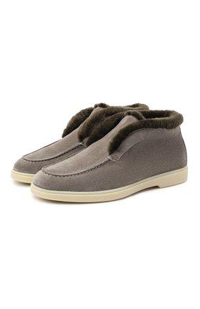 Женские замшевые ботинки SANTONI серого цвета, арт. WUYA58457TISAPFCG55 | Фото 1