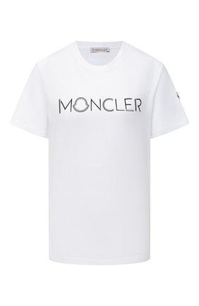 Женская хлопковая футболка MONCLER белого цвета, арт. F2-093-8C762-10-V8161 | Фото 1