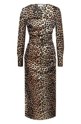 Женское шелковое платье GANNI леопардового цвета, арт. F5270 | Фото 1