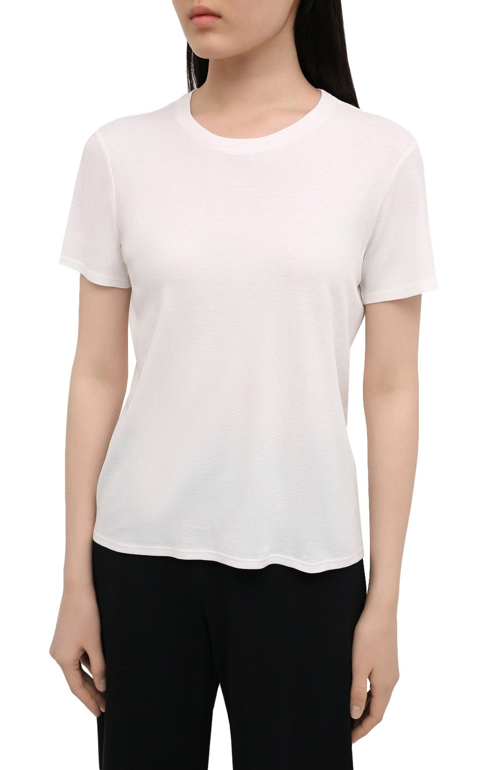 Женская футболка из хлопка и кашемира THE ROW кремвого цвета, арт. 5310K337 | Фото 3