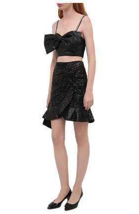 Женская юбка с пайетками SELF-PORTRAIT черного цвета, арт. AW20-077 | Фото 2