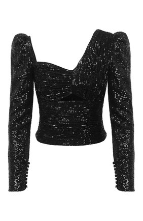 Женский топ с пайетками SELF-PORTRAIT черного цвета, арт. AW20-009 | Фото 1