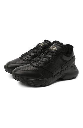 Женские кожаные кроссовки TOD'S черного цвета, арт. XXW54C0DP710V7   Фото 1