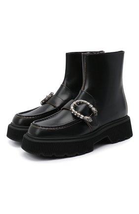 Женские кожаные ботинки hunder GUCCI черного цвета, арт. 627291/DS800 | Фото 1