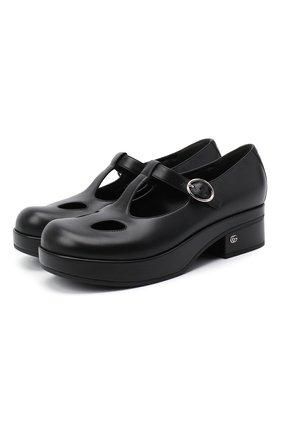 Женские кожаные туфли GUCCI черного цвета, арт. 635673/BK000   Фото 1