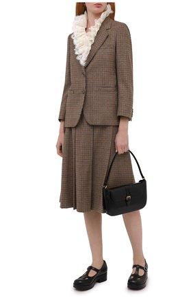 Женские кожаные туфли GUCCI черного цвета, арт. 635673/BK000   Фото 2