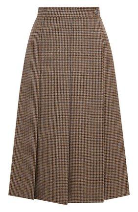 Женская шерстяная юбка GUCCI коричневого цвета, арт. 633219/ZAFAW | Фото 1