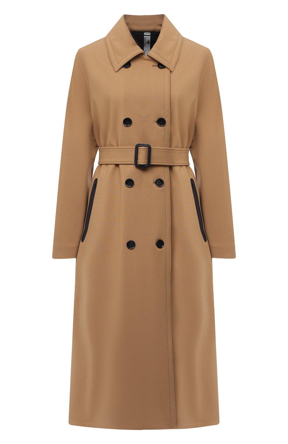 Женское двубортное пальто LACOSTE бежевого цвета, арт. BF4761   Фото 1