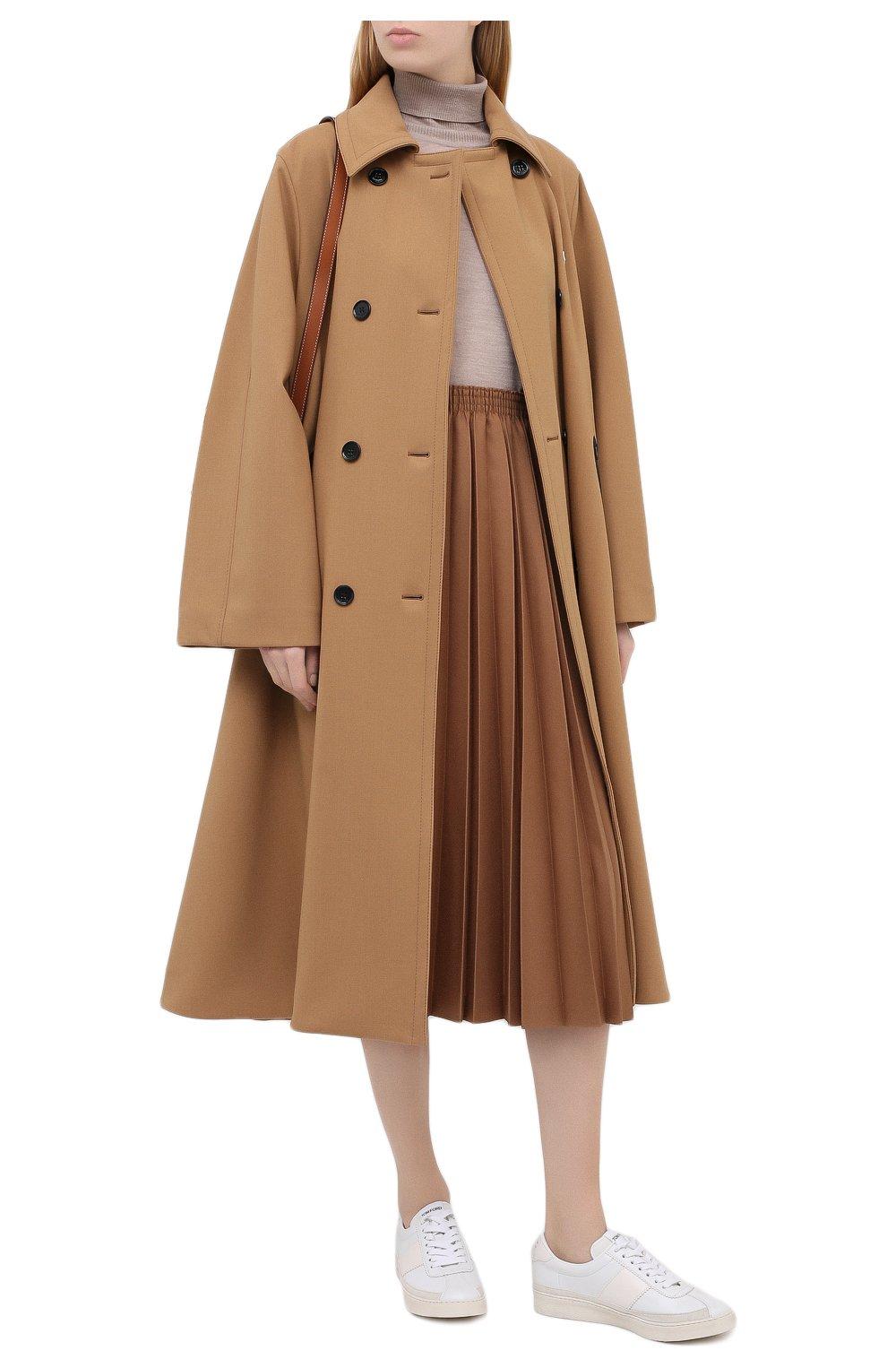 Женское двубортное пальто LACOSTE бежевого цвета, арт. BF4761   Фото 2