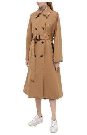 Женское двубортное пальто LACOSTE бежевого цвета, арт. BF4761   Фото 3