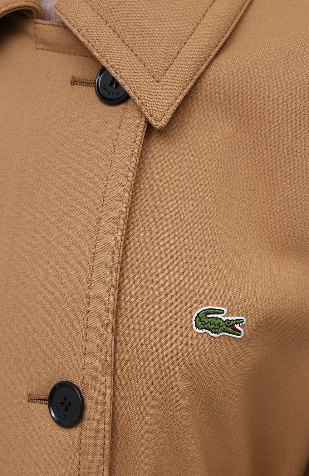 Женское двубортное пальто LACOSTE бежевого цвета, арт. BF4761   Фото 5