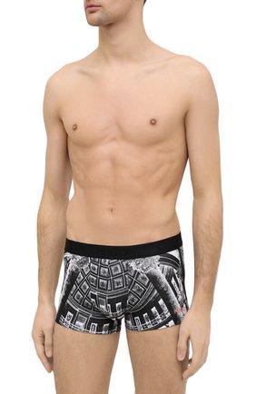 Мужские хлопковые боксеры HUGO черно-белого цвета, арт. 50438742   Фото 2
