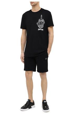 Мужские хлопковые шорты PHILIPP PLEIN черного цвета, арт. A20C MJT1748 PJO002N | Фото 2
