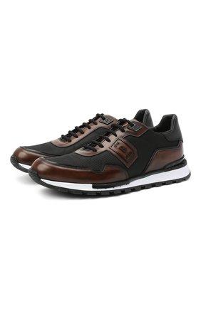 Мужские комбинированные кроссовки BERLUTI черного цвета, арт. S5199-003 | Фото 1