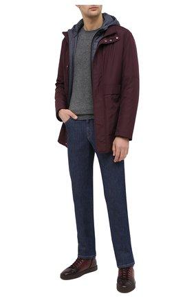 Мужские кожаные кеды SANTONI бордового цвета, арт. MBGL20870CHIPGSXB66 | Фото 2