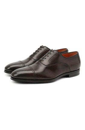 Мужские кожаные оксфорды SANTONI темно-коричневого цвета, арт. MCLE16207SI1ESCST52 | Фото 1