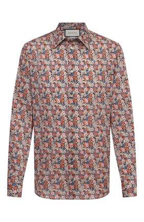 Мужская хлопковая рубашка GUCCI разноцветного цвета, арт. 636668/ZAFKW | Фото 1