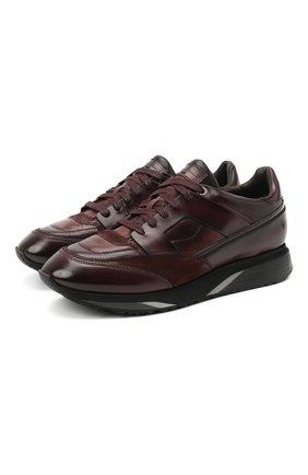 Мужские кожаные кроссовки SANTONI бордового цвета, арт. MBEN21167NGGRG0DB66   Фото 1