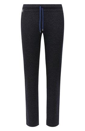 Мужские брюки из шерсти и хлопка CAPOBIANCO темно-синего цвета, арт. 9M733.ME00.   Фото 1 (Материал внешний: Хлопок, Шерсть; Длина (брюки, джинсы): Стандартные; Случай: Повседневный; Стили: Кэжуэл)