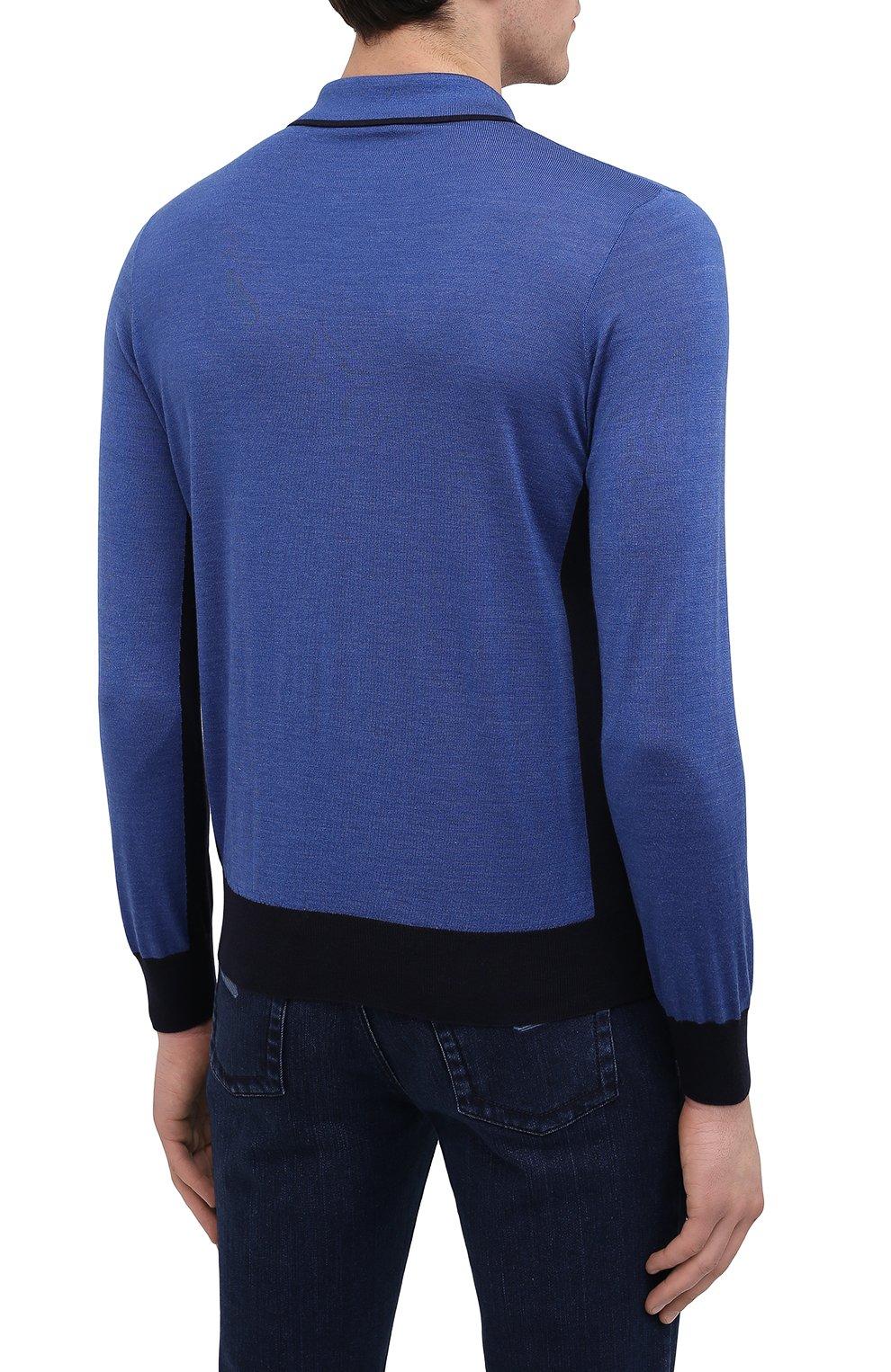 Мужское поло из кашемира и шелка ZILLI синего цвета, арт. MBU-PZ022-ZISC1/ML02/AMIS | Фото 4