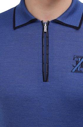 Мужское поло из кашемира и шелка ZILLI синего цвета, арт. MBU-PZ022-ZISC1/ML02/AMIS | Фото 5