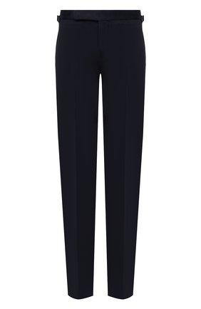 Мужские хлопковые брюки RALPH LAUREN темно-синего цвета, арт. 798819420 | Фото 1 (Материал подклада: Вискоза; Длина (брюки, джинсы): Стандартные; Материал внешний: Хлопок; Случай: Формальный; Стили: Классический)