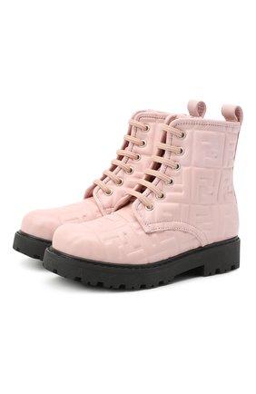Детские кожаные ботинки FENDI розового цвета, арт. JMR338/AADS/32-39 | Фото 1