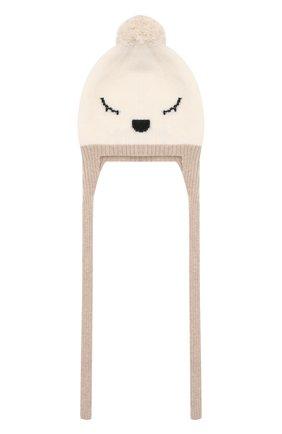 Детского шерстяная шапка BABY T бежевого цвета, арт. 20AI174CU | Фото 1