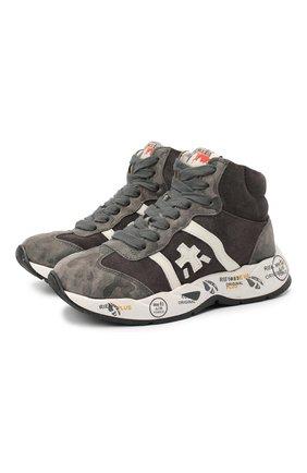 Детские высокие кроссовки из кожи PREMIATA WILL BE серого цвета, арт. ARTHUR-M/11-181493-M/CHILD | Фото 1 (Материал утеплителя: Натуральный мех; Стили: Гранж)