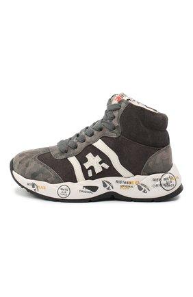Детские высокие кроссовки из кожи PREMIATA WILL BE серого цвета, арт. ARTHUR-M/11-181493-M/CHILD | Фото 2 (Материал утеплителя: Натуральный мех; Стили: Гранж)
