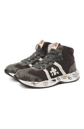 Детские высокие кроссовки из кожи PREMIATA WILL BE серого цвета, арт. ARTHUR-M/11-181493-M/JUN | Фото 1 (Материал утеплителя: Натуральный мех; Стили: Гранж)