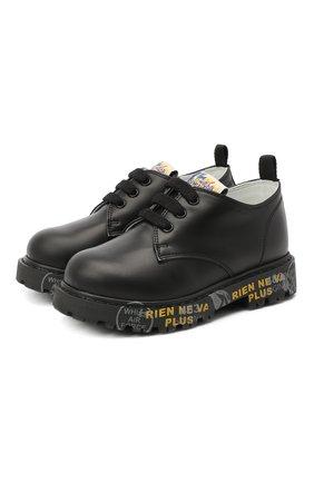 Детские кожаные туфли PREMIATA WILL BE черного цвета, арт. G0-URBAN/11-221470/T0D | Фото 1 (Материал внутренний: Натуральная кожа)