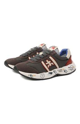 Детские кроссовки PREMIATA WILL BE серого цвета, арт. LAVY/11-131479/JUN | Фото 1 (Материал внутренний: Натуральная кожа; Материал внешний: Текстиль)
